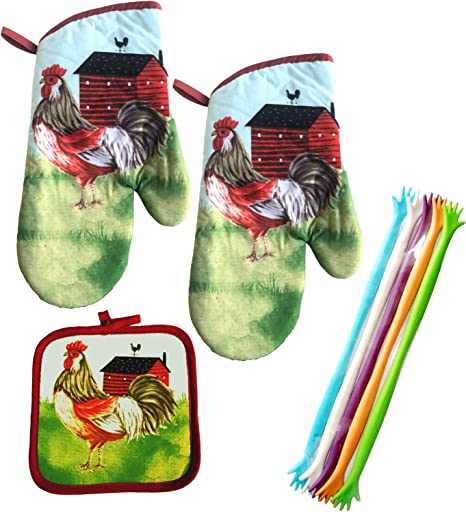 Kitchen Oven Mitt Pot Holder Set of 4 Rooster Country Farm Beige Green Red Gift