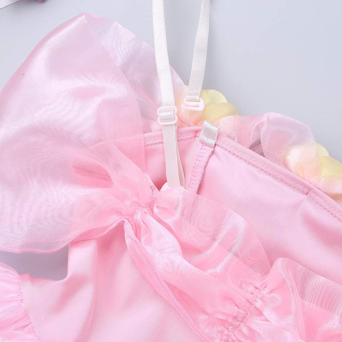 YOOJIA Vestido Tut/ú Maillot de Ballet Ni/ñas Vestido Princesa Danza con Braga Traje Brillantge Fiesta Actuaci/ón Ropa Bailarina Infantil 3-8 A/ños