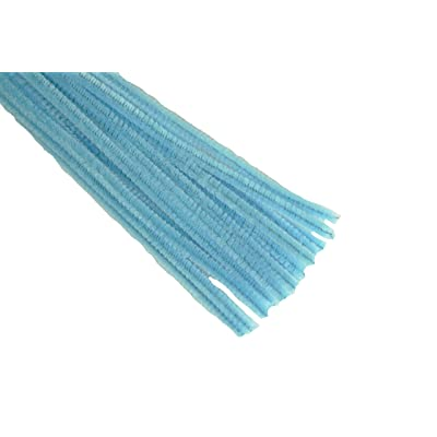 "12"" Plain Blue Mist Chenille (Pipe Cleaner) 6MM Stems Choose Package Amount (25): Health & Personal Care"