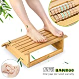Ergonomic Bamboo Footrest Foot Stool Under Desk Footrest with Massager Rollers for Office Home