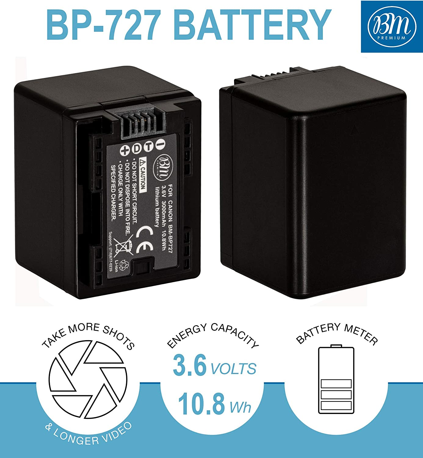 BM Premium 2 BP-727 Batteries and Dual Charger for Canon Vixia HFR80 HFR82 HFR800, HFR70, HFR72, HFR700, HFR32, HFR300, HFR40, HFR42, HFR400, HFR50, HFR52, HFR500, HFR60, HFR62, HFR600 Camcorder : Camera & Photo