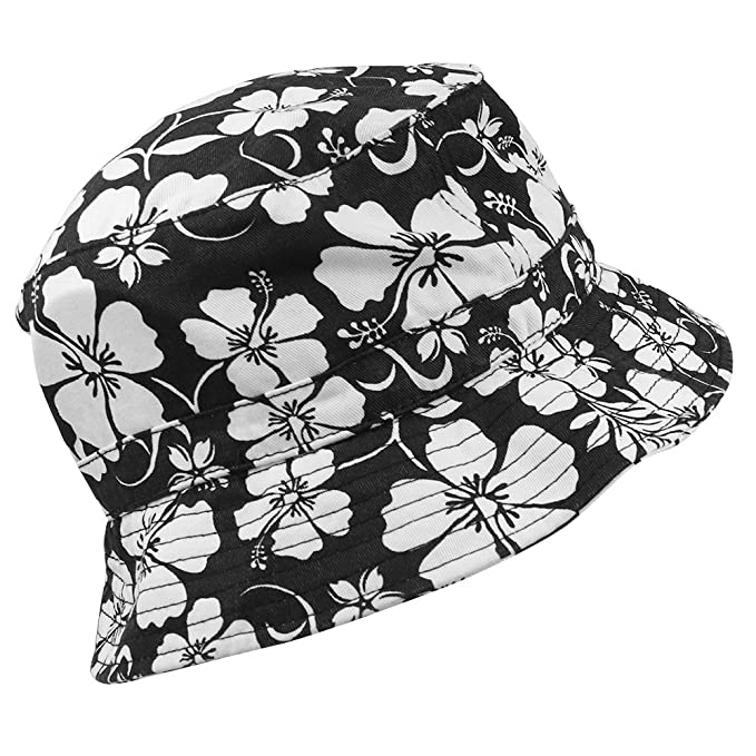 07d9881539a91 Armycrew Hibiscus Hawaiian Tropical Floral Foldable Fisherman's Bucket Hat  - Black - L/XL at Amazon Men's Clothing store:
