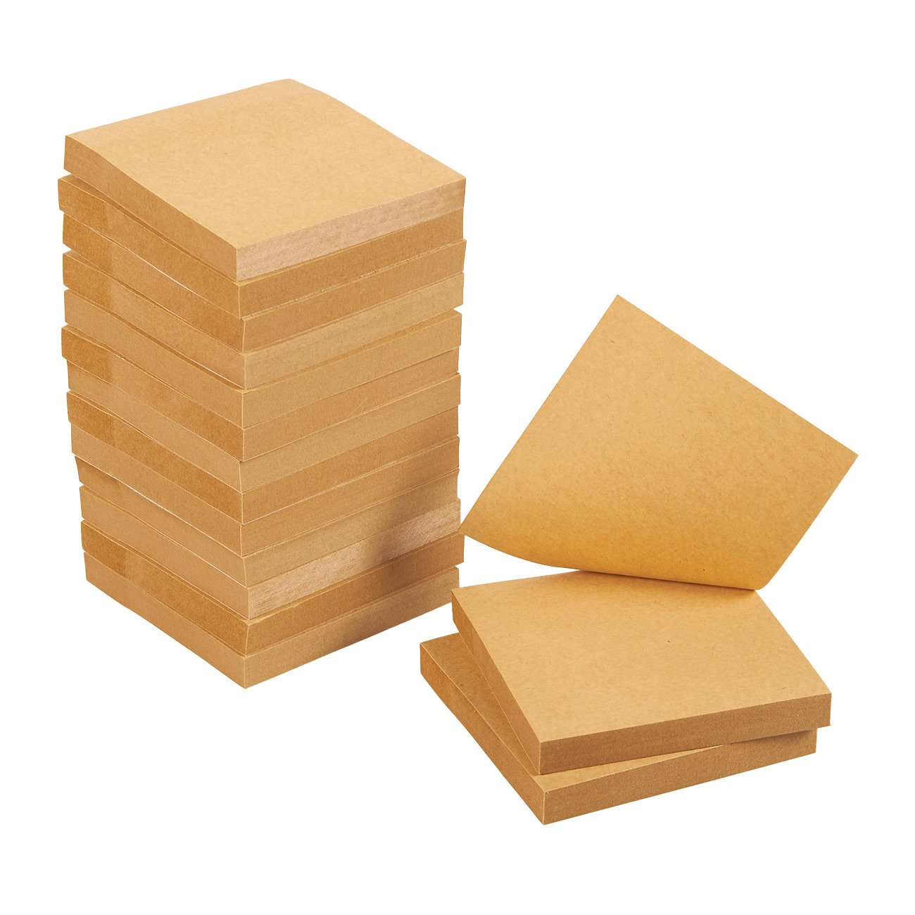 Sticky Notes - 15-Pads Self-Stick Note Pads, Memo, Post, Reminder for Students, Home, Desk, Office Supplies, Kraft Paper, 100 Sheets Per Pad, 3 x 3 Inches