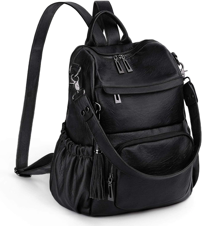 UTO Women Backpack Purse PU Leather Convertible Ladies Rucksack Tassel Zipper Pocket Shoulder Bag