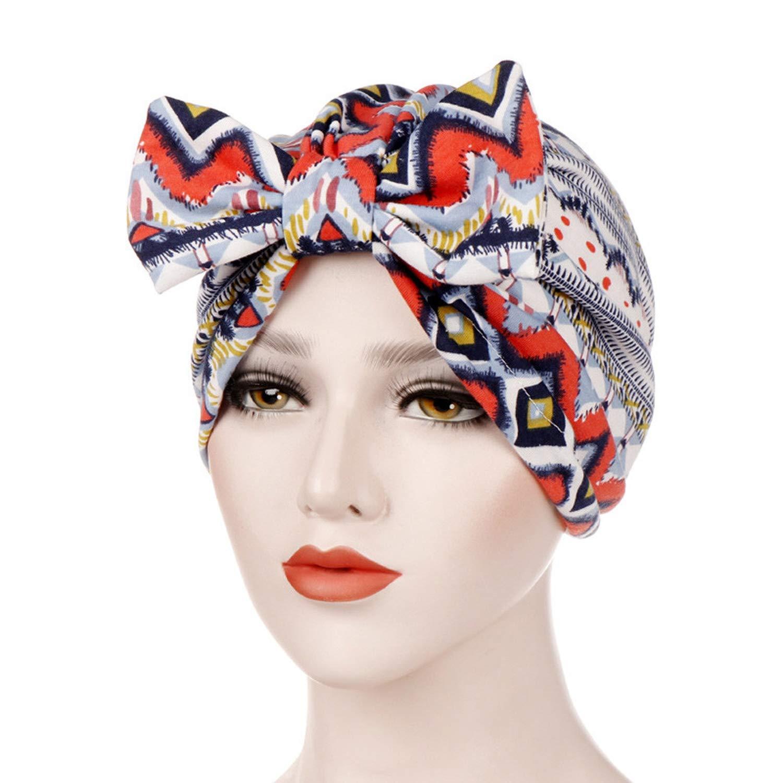 Vintage Winter Hats Hippie Printed Beanie Muslim Winter Bow hat Femme Turban Head Wrap Cap Female Accessories