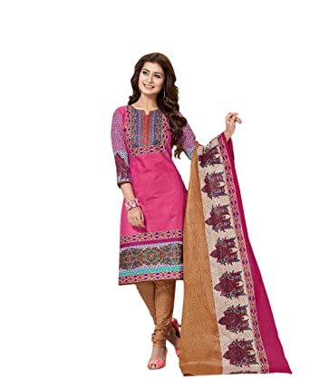 8969a333a0 Balaji Cotton Chitra Women's Printed Dress Material, Unstitched,  Multicolour: Amazon.in: Clothing & Accessories