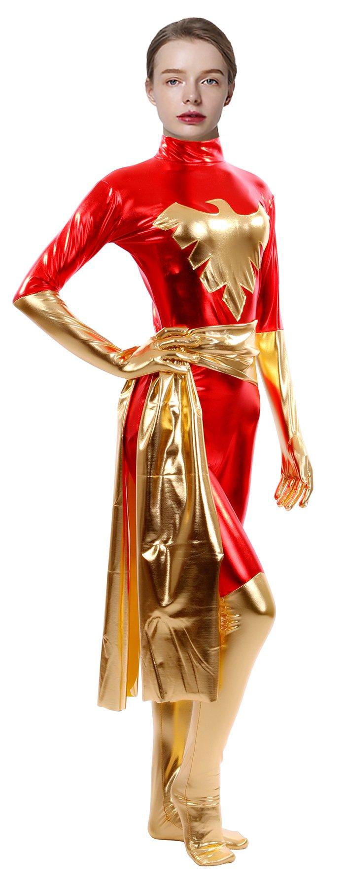 - 71rpnGisMYL - Sheface Women's Metallic Phoenix Zentai Catsuit Halloween Costumes