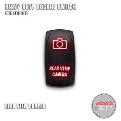 REAR VIEW CAMERA - Red - Switch Dual Light - STARK Laser Etched LED Rocker - 20A 12V ON/OFF 5-PIN: Automotive