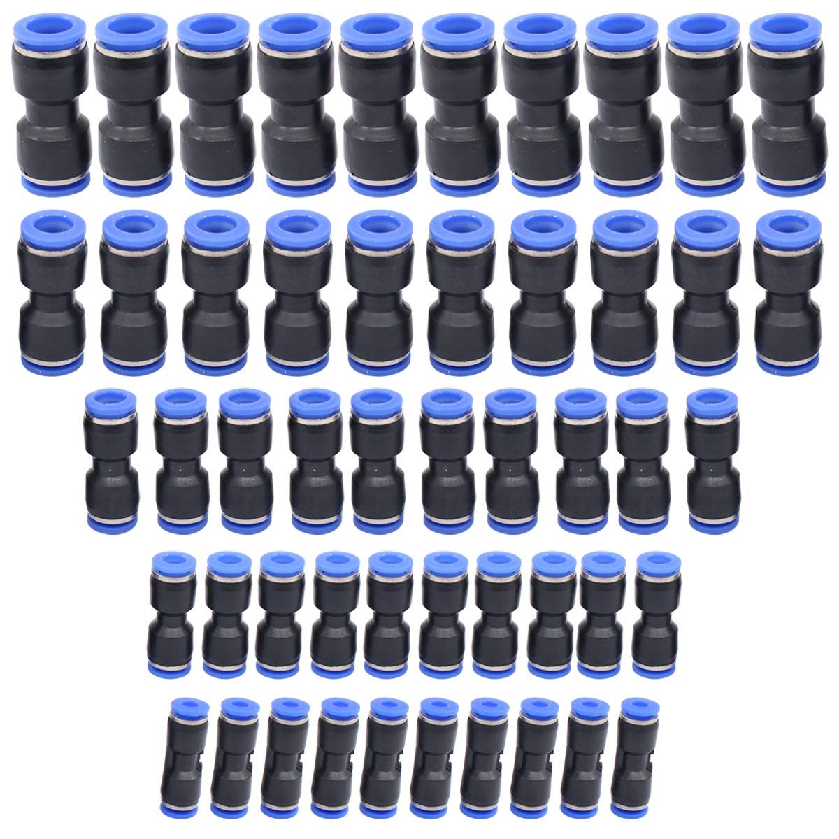 ApplianPar Quick Release Plastic Straight Push to Connect Fittings Kit Air Line Fittings Connectors for 5//32 1//4 5//16 3//8 1//2 Tube 2 Way Pack of 50