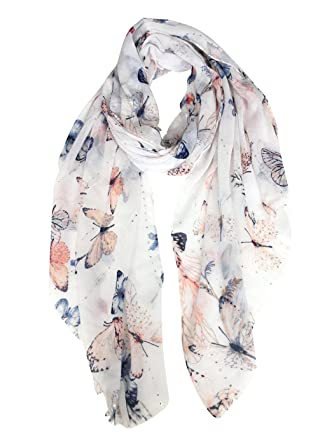 c2ebf07644f3 DAMILY Écharpe Wrap Avec Jolis Papillons Femmes Motif Animal Châle (Blanc)