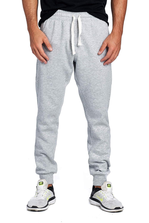 ProGo Mens Casual Jogger Sweatpants Basic Fleece Marled Jogger Pant Elastic Waist