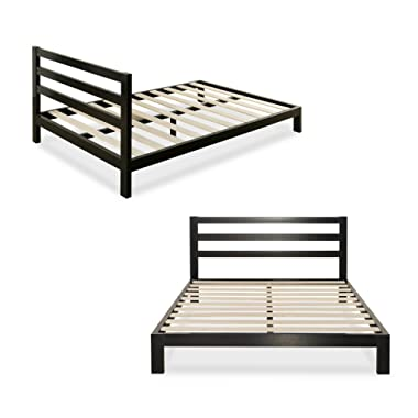 Zinus Modern Studio 10 Inch Platform 2000H Metal Bed Frame, Mattress Foundation, Wooden Slat Support, with Headboard, King