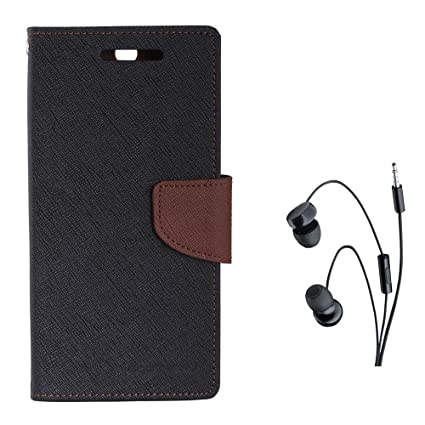 the latest 7879c 898c7 Avzax Diary Look Flip Case Cover for Coolpad Note 3 Lite (Black) + in Ear  Headphone