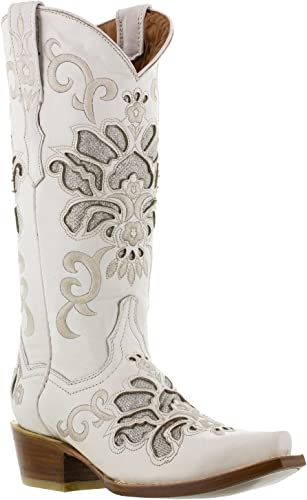 White Arabe Leather Cowboy Boots