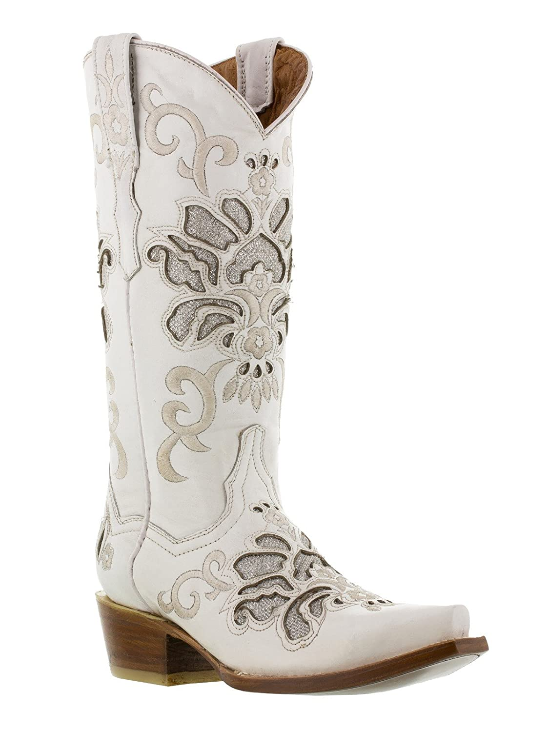 Cowboy Professional - Women's White Arabe Overlay Western Leather Cowboy Boots Snip Toe