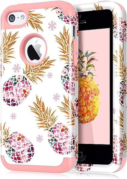 Dailylux Coque pour iPhone 5C Coque en polycarbonate, trois couches en silicone souple antichoc et antidérapant, pour iPhone 5C Couleur ananas Rose ...