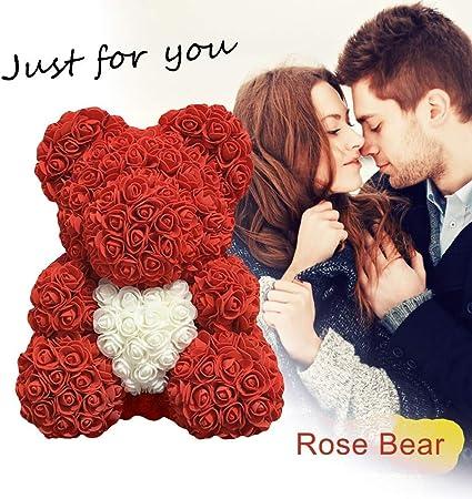Xhx Rose Artificielle Amour Coeur Mousse Mousse Rose Ours