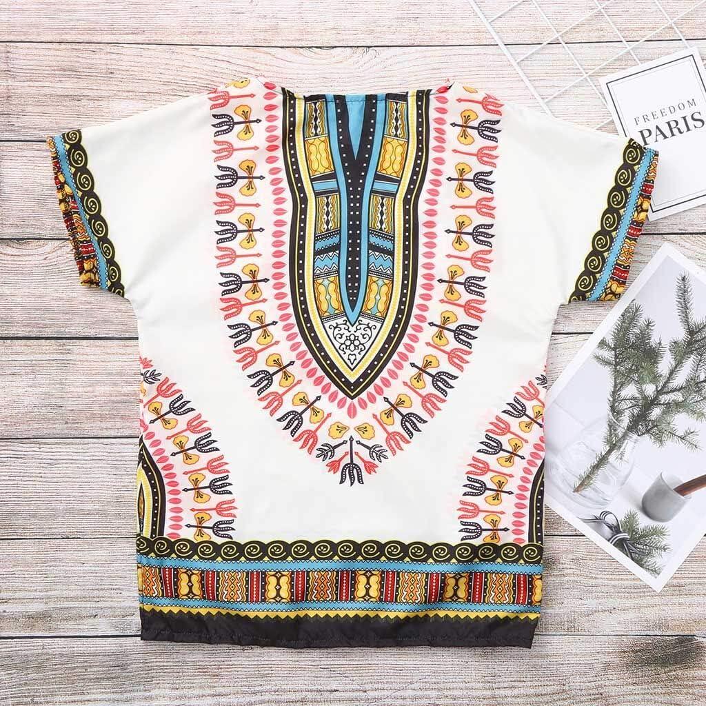Julhold Boy Girl Kids Baby Fashion Leisure Unisex Bright African Colour Child Dashiki T Shirt Tee Tops Summer 2-7Yeaars