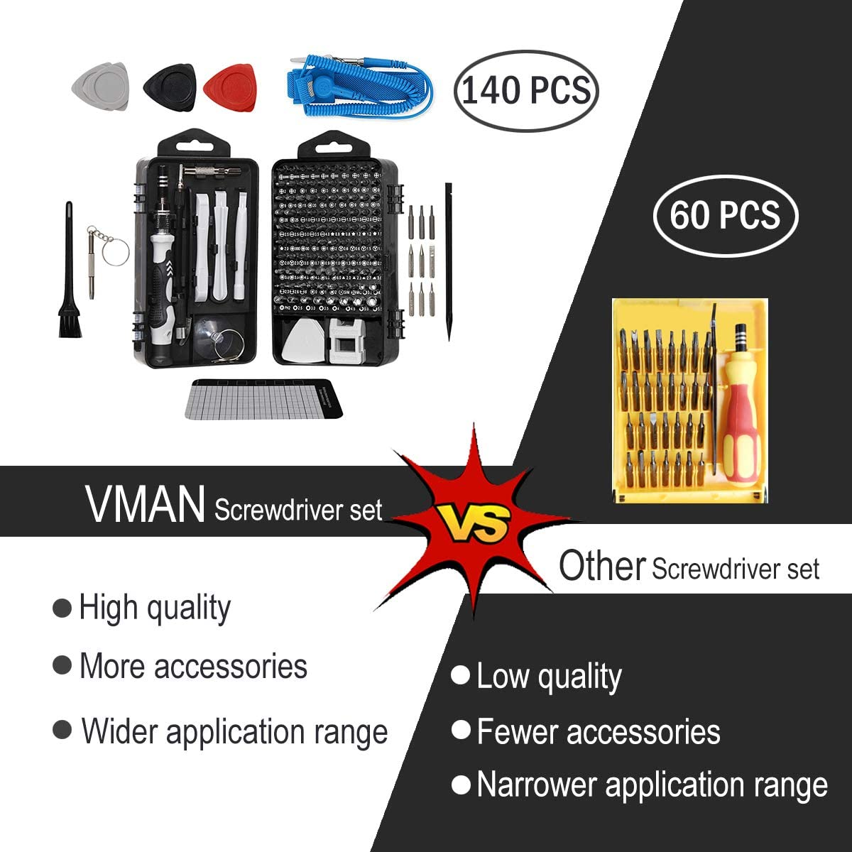 VMAN 140 in 1 Precision Screwdriver Set, Magnetic Electronic Screwdriver Set, Electronics Repair Tool Kit with Case, for Watch, Mobile Phone, Game console, Computer, Camera, Headset. Etc: Home Improvement