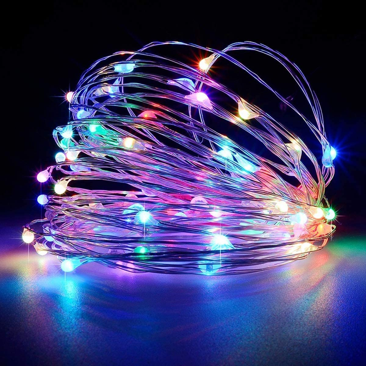 LiyuanQ Battery Operated String Lights, Led Mini Fairy String Lights 50 LED 16.5 FT Battery Powered Sliver Wire Starry Fairy Lights for Indoor Outdoor Wedding Home Garden Party Decor (Multi Color)