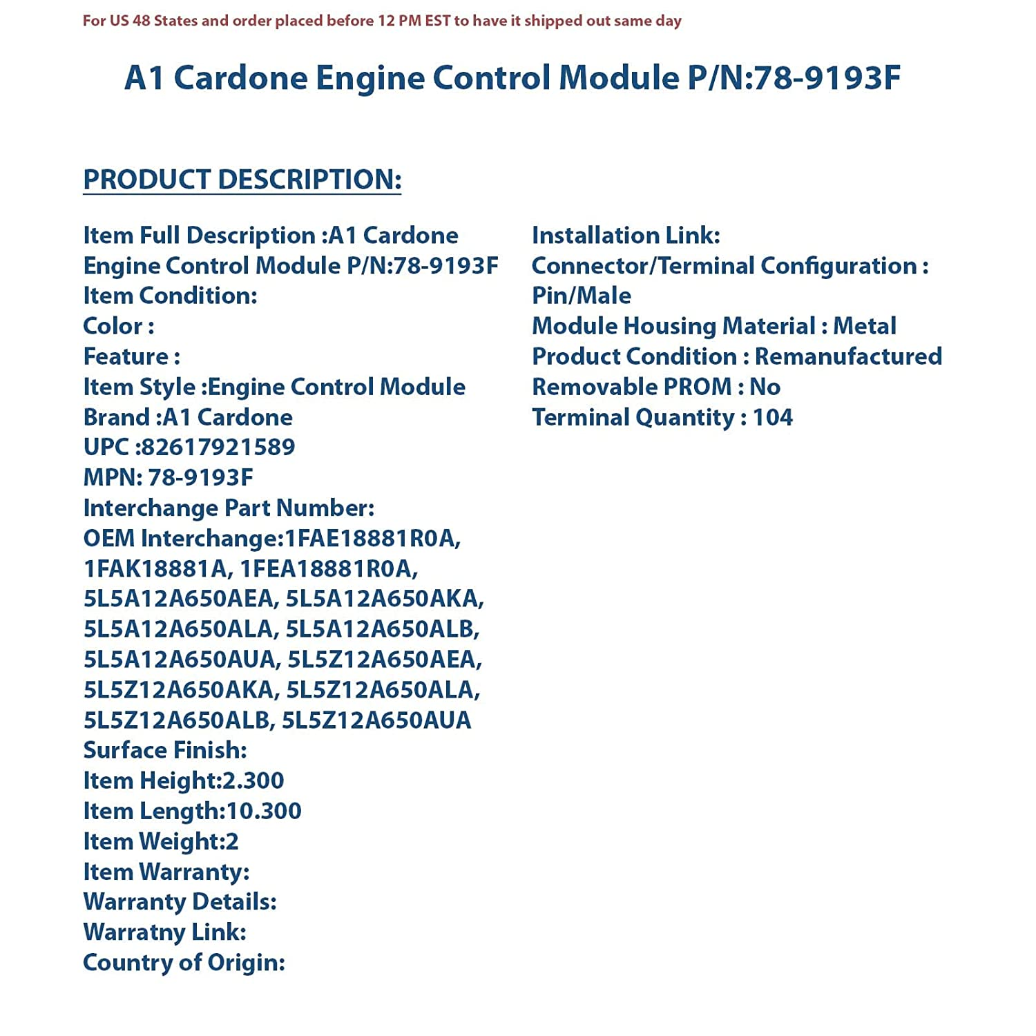 Cardone 78-9141F Remanufactured Ford Computer