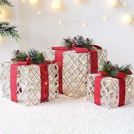 Littlefairy Adornos de Brillo Regalo Caja Regalo Paquete Pagoda Navidad árbol de Navidad decoración Juego de Tres Piezas Escena de Navidad: Amazon.es: Hogar
