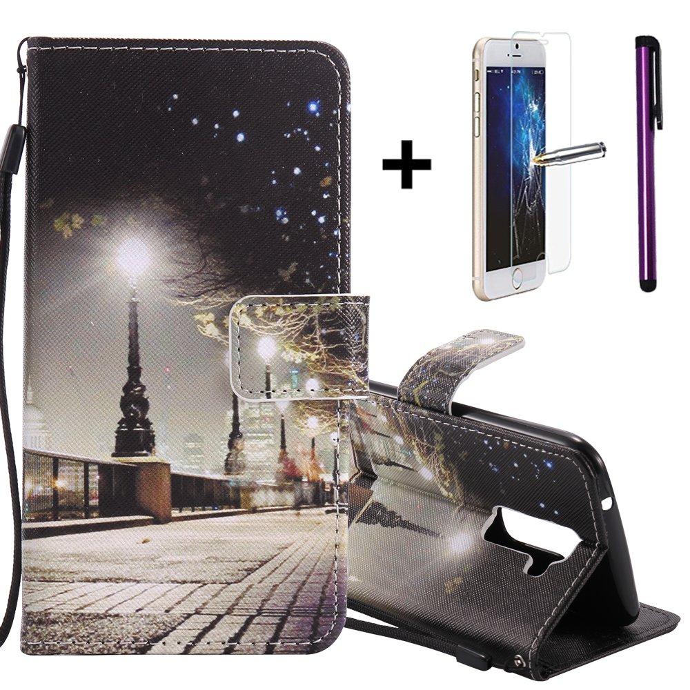 Folio Flip Cover Lujo Creativo 9/tarjetas de cr/édito con un LG K10/ tel/éfono m/óvil Premium funda de piel sint/ética 2016 con libre Protector de pantalla de cristal templado plateado + 1/l/ápiz capacitivo