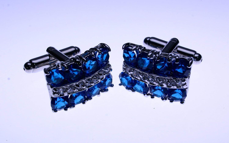 Gentlemanjoe Blue /& White Crystal Cufflinks Multicolored
