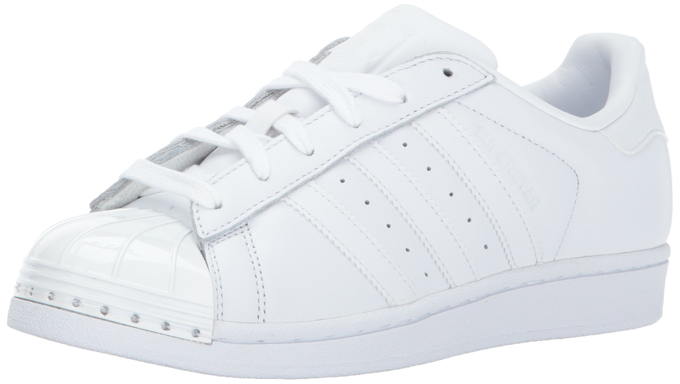 adidas Originals Women's Superstar Metal Toe W Skate Shoe, White/White/Black, 5 Medium US