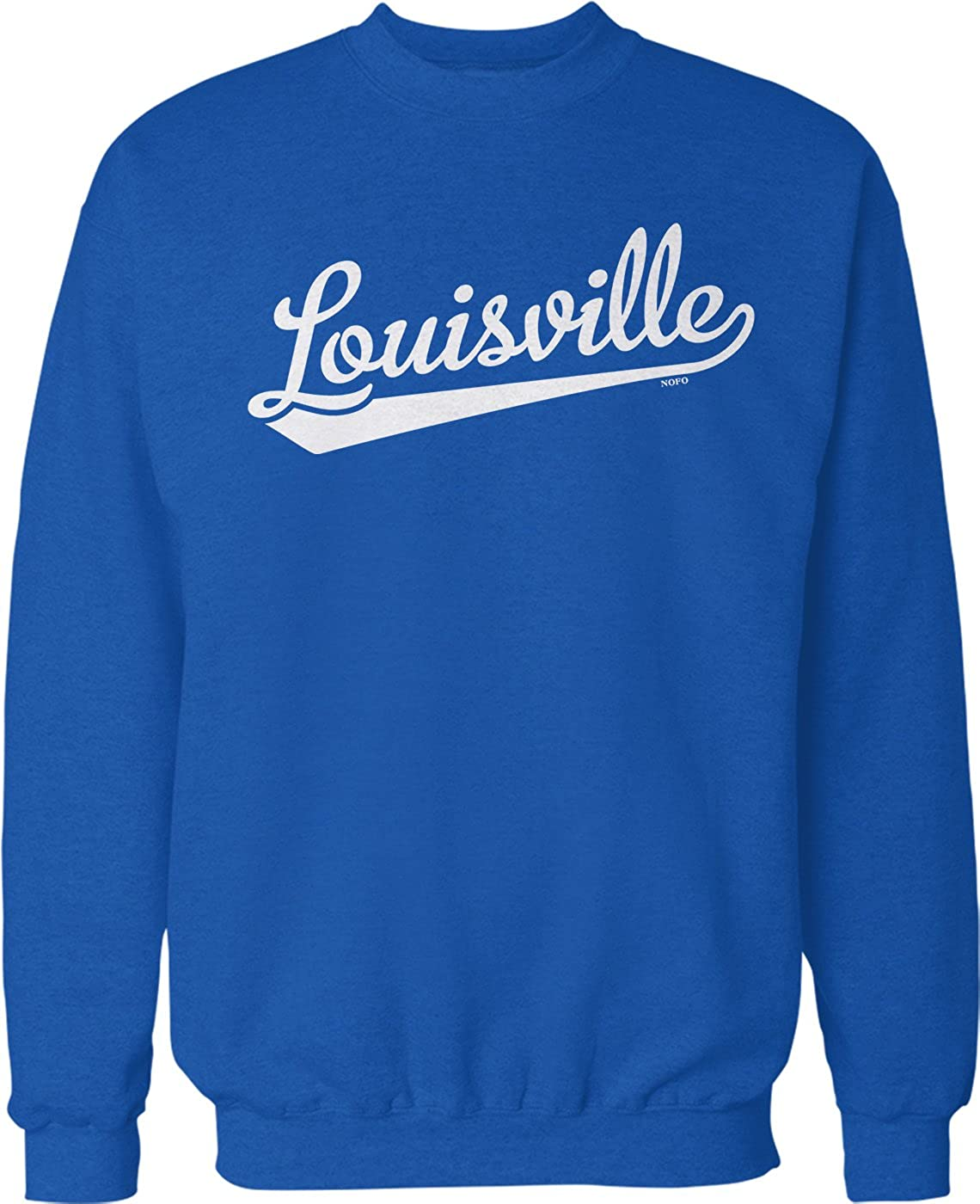 NOFO Clothing Co Louisville Script Baseball Font Crew Neck Sweatshirt