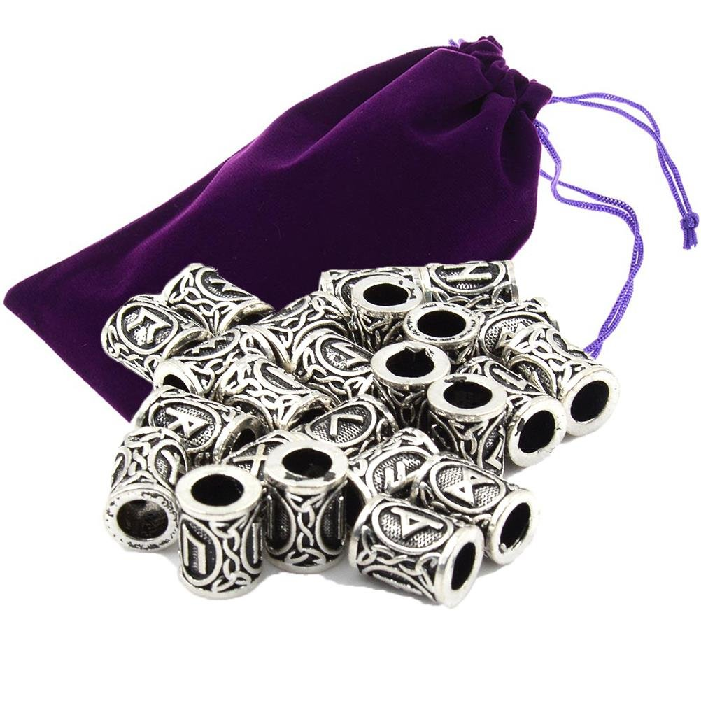 24pcs Viking Norse Runes Beads with Velvet Drawstring Pouches Hair Beard Retro Loose Beads cry bluer
