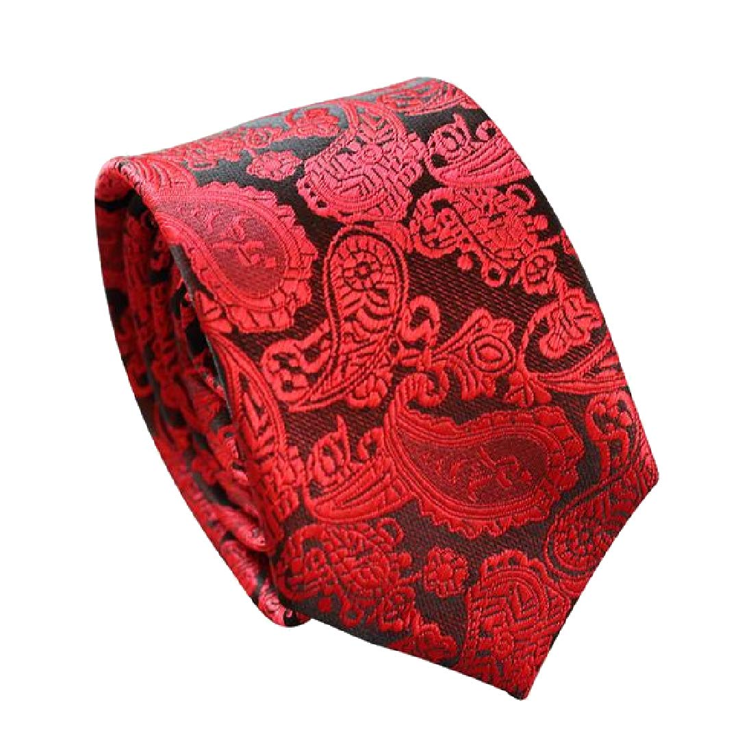 YUSKY Mens More Choice Skinny Polyester Silk Formal Business Ties Necktie Red OS