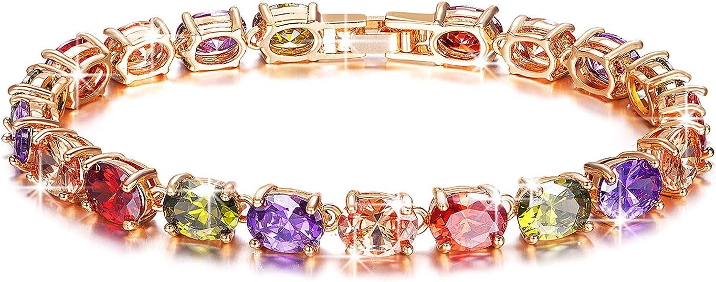 Kami Idea Pulsera para Mujer - sobre el Arcoiris - Pulsera de Tenis, Pulsera de Cristales de Cuatro Colores de Estilo Bohemio, Cristales de Swarovski, Joyas para Mujer, Paquete de Regalo