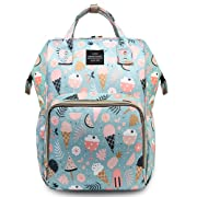 HaloVa Diaper Bag Multi-Function Waterproof Travel Backpack Nappy Bags for Baby Care, Large Capacity, Lovely Cartoon Pattern, Blue Flowers