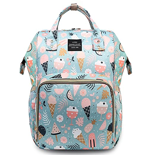 HaloVa Diaper Bag Multi-Function Waterproof Travel Backpack Nappy Bags for Baby Care, Large Capacity, Stylish and Durable, Blue Flowers