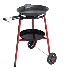 Mabel Home Paella Pan + Paella Burner and Stand Set on Wheels + Complete Paella Kit for up to 14 Servings - 15.75 inch Gas Burner + 18 inch Enamaled Steel Paella Pan