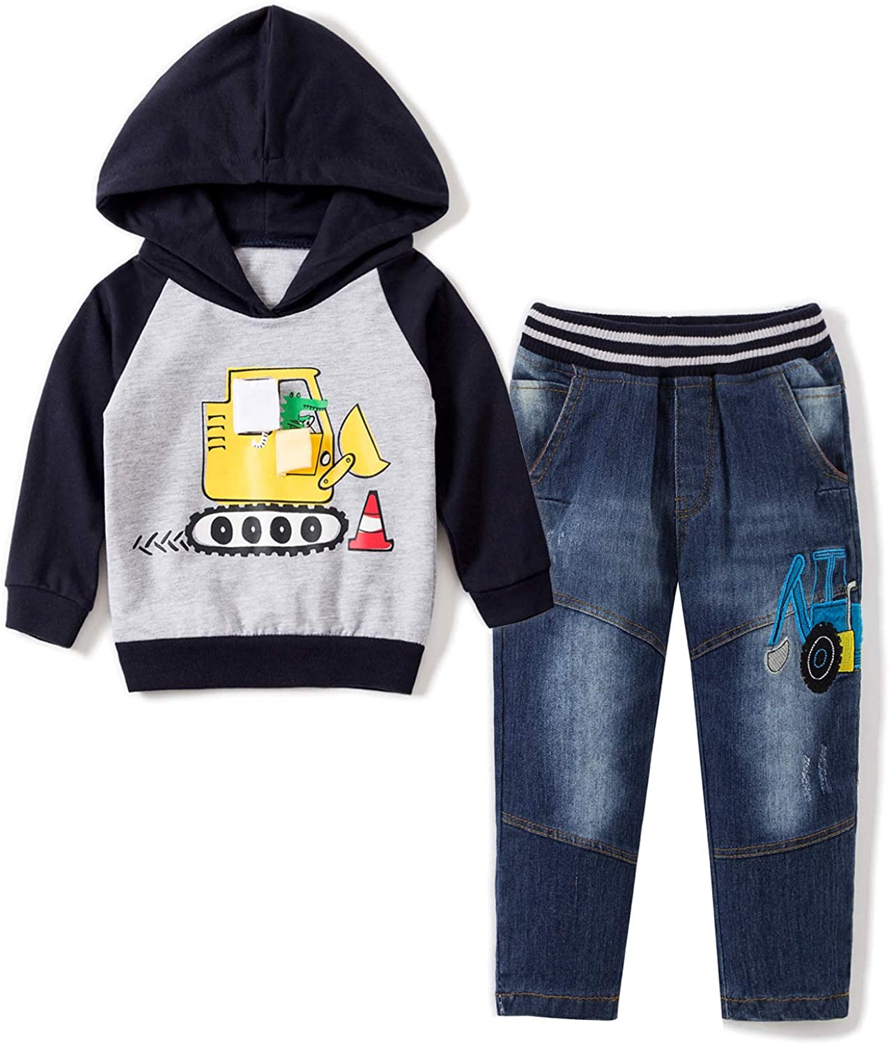 Jeans Overalls Outfit Set Pullover T-Shirt Ameyda Boys Plaid Button Up Shirt