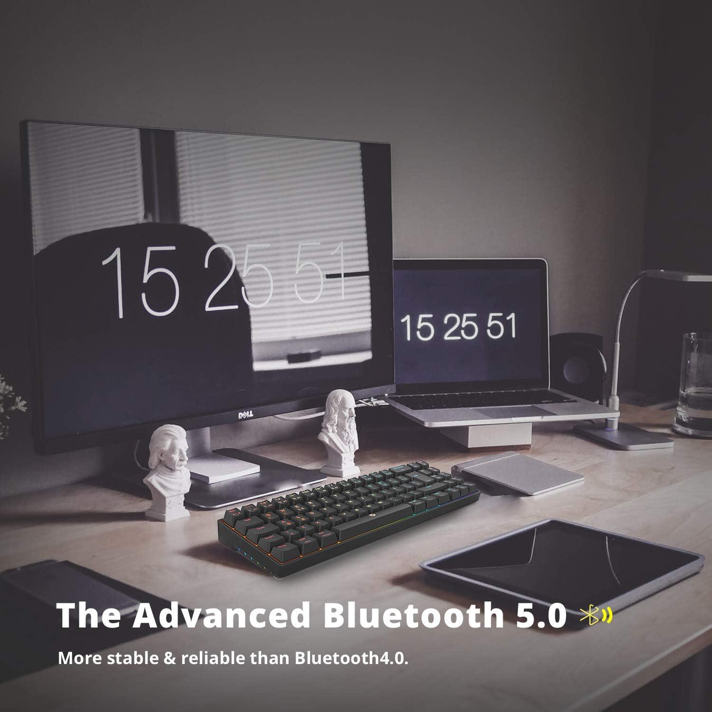 DREVO Calibur V2 Pro Teclado mecánico para Juegos RGB inalámbrico Mediante Bluetooth 5.1 con Cable USB-C extraíble,Compacto de 72 Teclas Distribución ...