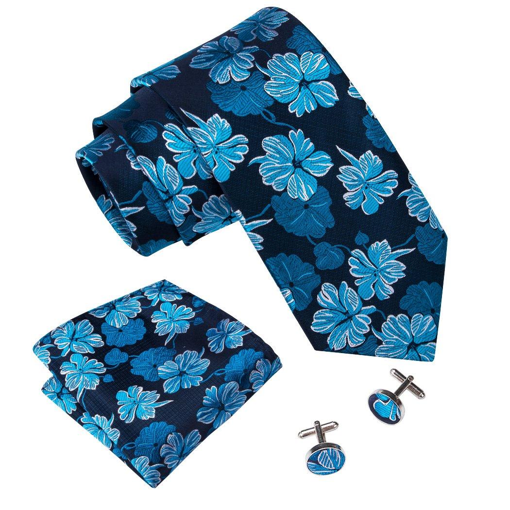 Barry.Wang Flower Ties for Men Handkerchief Cufflinks Set Wedding Necktie FBASN-225