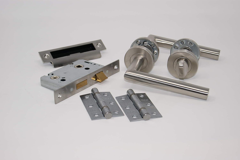5 Set/'s Door Handles Pack Internal C//w Latch 30.6 x 24.2 x 18 cm Silver