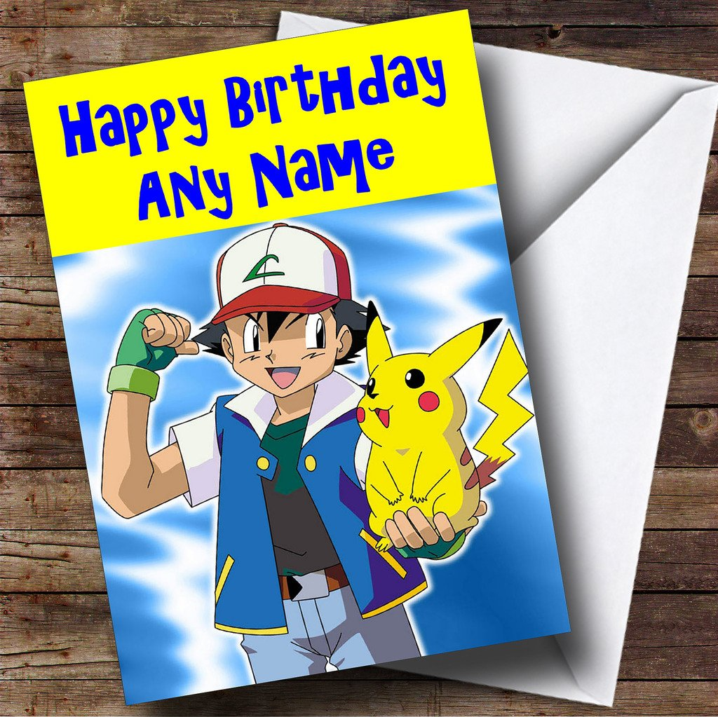 Personalised Childrens Kids Character Birthday Card Huge – Pokemon Birthday Card