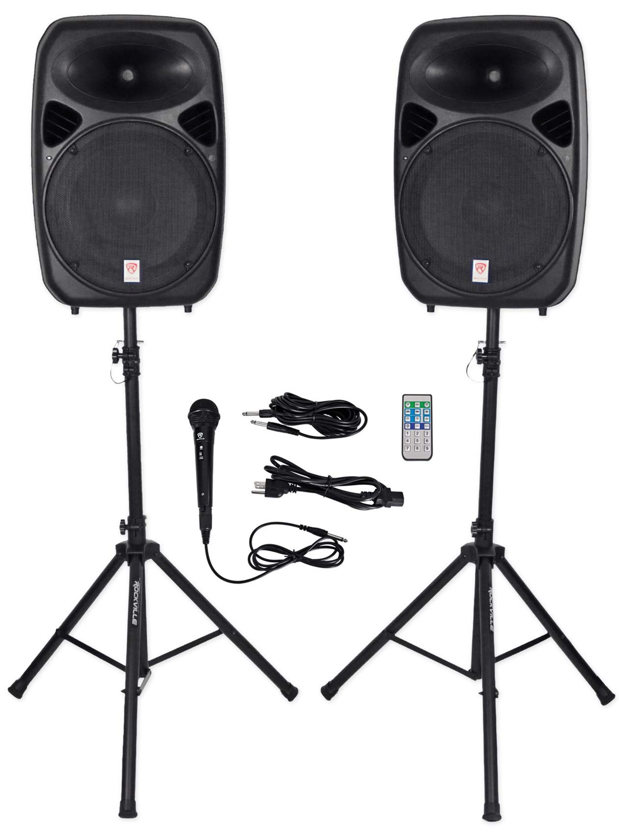 Rockville RPG152K Dual 15'' Powered Speakers, Bluetooth+Mic+Speaker Stands+Cables by Rockville