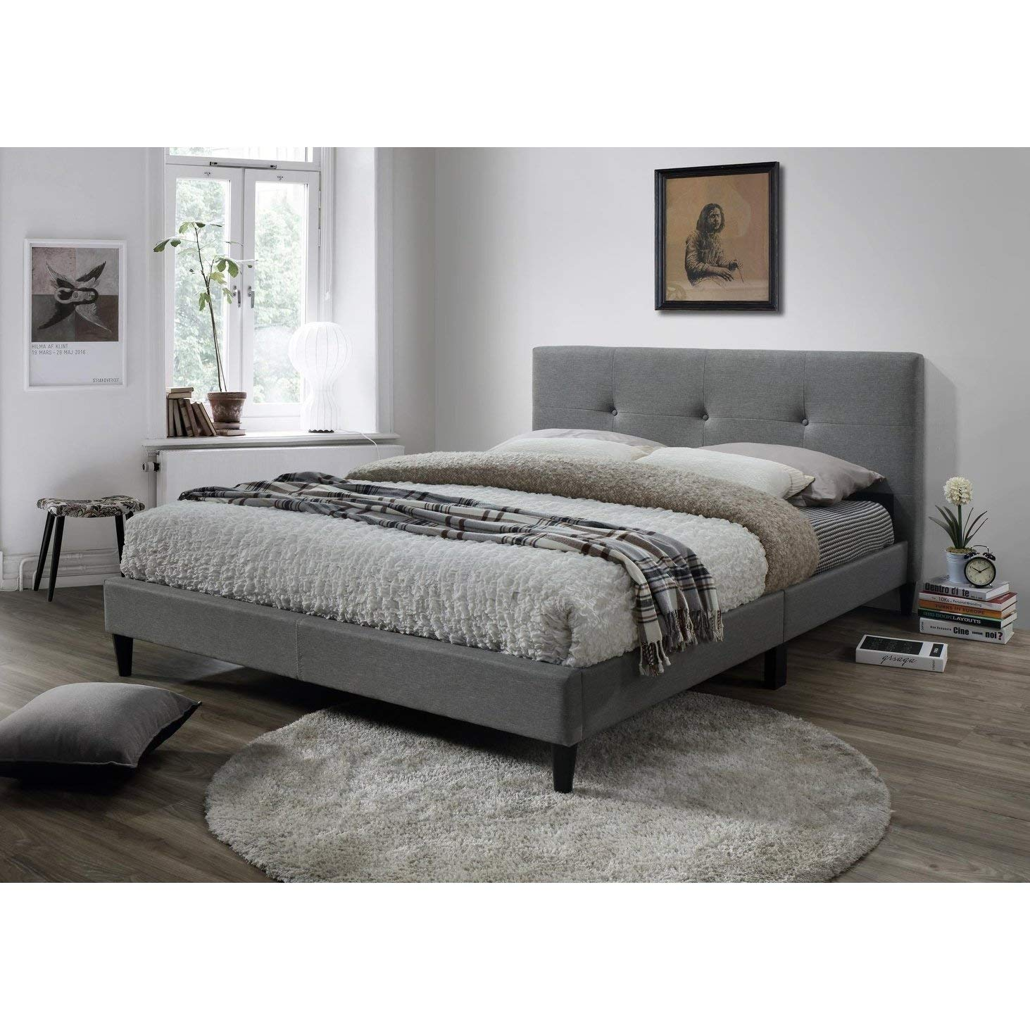 Amazon com overstock lyke home jackson tufted gray platform bed twin kitchen dining