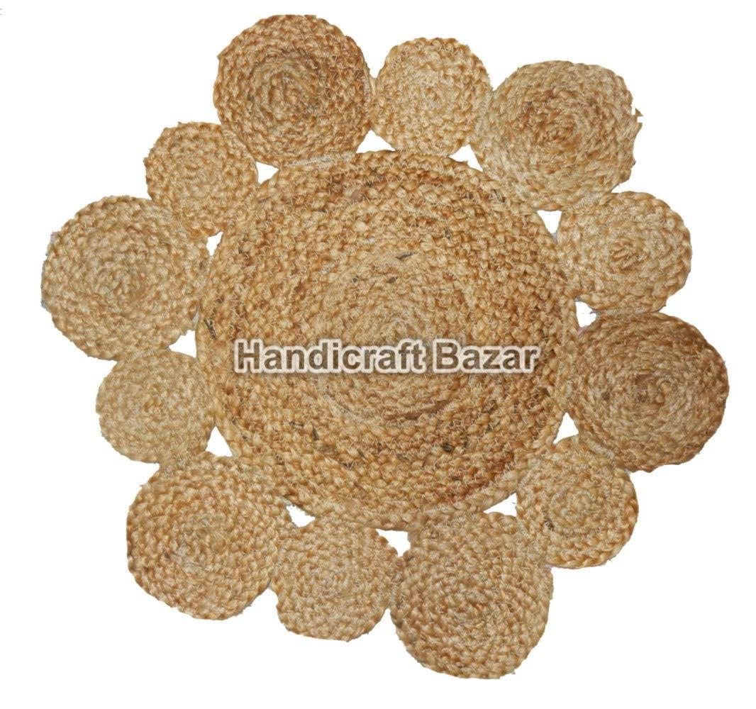 hecho a mano decoraci/ón india para el hogar redondo dise/ño /étnico tradicional indio beige, 01 Tapete de yute de 18 pulgadas dise/ño vintage tapete para piso para exterior e interior