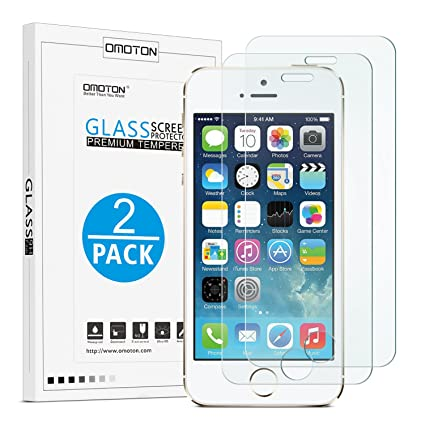 83aca00951b Amazon.com: OMOTON 2.5D Round Edge 9H Tempered Glass Anti-Scratch Screen  Protector for iPhone SE/ 5S/ 5C/ 5 - Clear (2 Pack): Cell Phones &  Accessories