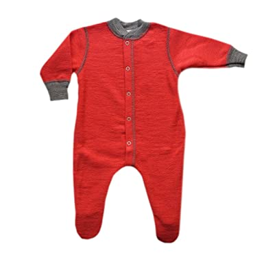 85fa1cce2 Engel Organic Merino Wool Baby Sleepsuit / Pyjamas with Feet Hibiscus 62/68  3-6m: Amazon.co.uk: Clothing