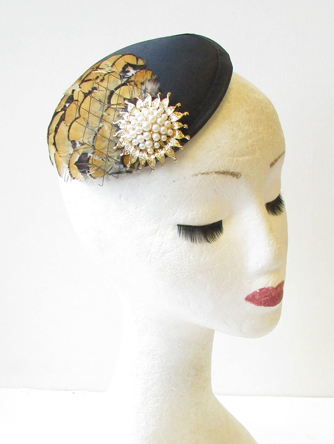 ced0ecc20d605 Black Mustard Brown Gold Pheasant Feather Fascinator Races 40s Hair Vintage  1429  EXCLUSIVELY SOLD BY STARCROSSED BEAUTY   Amazon.co.uk  Beauty