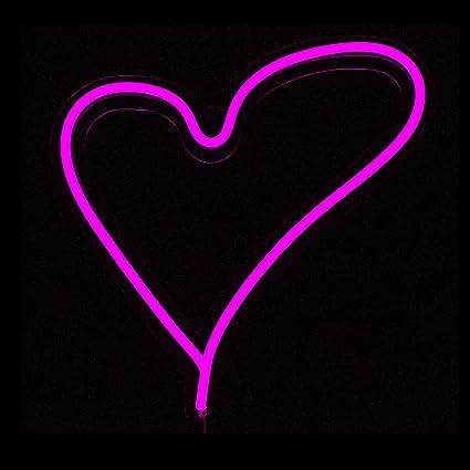 amazon com pink heart led neon sign wall neon light wall light 30cm