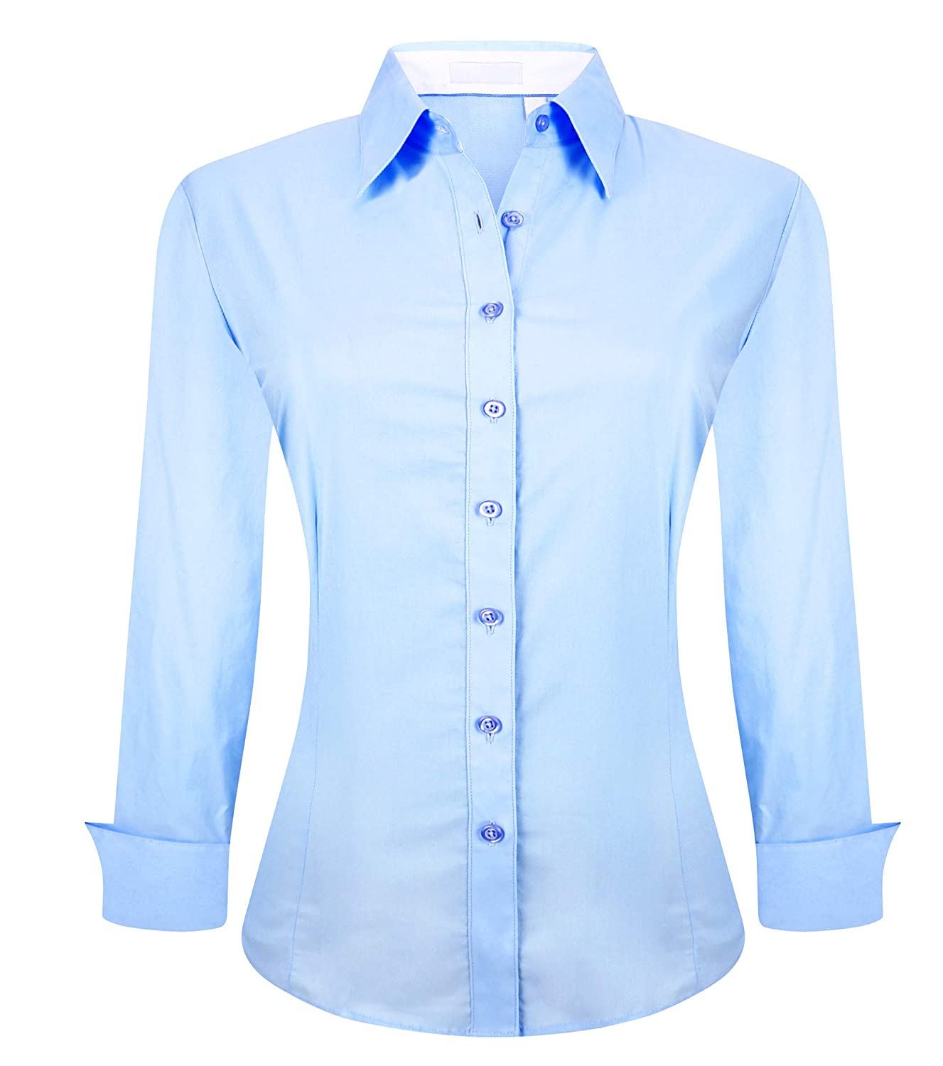 070dede3da0 Material:Our women button down shirts is made from 97%cotton3%spandex,ultra  soft,comfortable and stretchy,provides you more freedoms