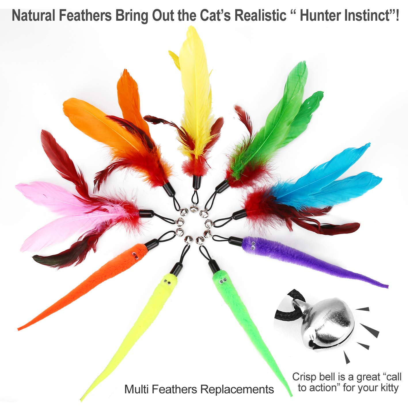Retractable Cat Toys Wand 2 Wands /& 9 Assorted Teaser Refills Cat Feather Toy Interactive Feather Teaser Wand Toy Bell Kitten Cat Having Fun Exerciser Playing